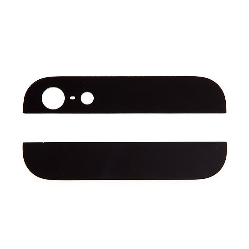 Horní a dolní sklo zadního krytu pro Apple iPhone 5 - černé - kvalita A