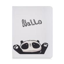 """Pouzdro pro Apple iPad Pro 12,9"""" (2018) - stojánek - umělá kůže - panda """"Hello"""""""