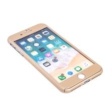 Kryt pro Apple iPhone 7 Plus / 8 Plus - 360°ochrana - plastový - zlatý + tvrzené sklo