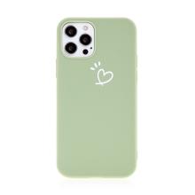Kryt pro Apple iPhone 12 / 12 Pro - srdce - gumový - zelený