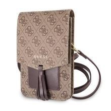 Pouzdro / kabelka GUESS 4G - 2x kapsa + popruh přes rameno - umělá kůže - hnědé