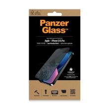 Tvrzené sklo (Tempered Glass) PANZERGLASS pro Apple iPhone 13 / 13 Pro - černý rámeček - privacy - 0,4mm