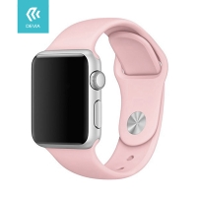 Řemínek DEVIA pro Apple Watch 40mm Series 4 / 5 / 6 / SE / 38mm 1 / 2 / 3 - silikonový - pískově růžový