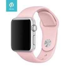 Řemínek DEVIA pro Apple Watch 44mm Series 4 / 5 / 42mm 1 2 3 - silikonový - pískově růžový