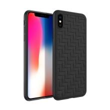 "Kryt pro Apple iPhone X / Xs - plastový / gumový - ""skládaný"" - černý"