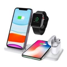 Stojánek / bezdrátová nabíječka Qi 4v1 - 2x Apple iPhone + Watch + AirPods - nastavitelný - bílý