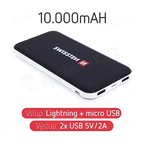 Externí baterie / power bank SWISSTEN - 10000 mAh - 2x USB, 2A, vstup Lightning / Micro USB - černá