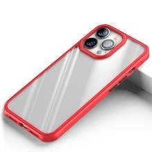 Kryt pro Apple iPhone 13 Pro Max - plastový / gumový - průhledný / červený