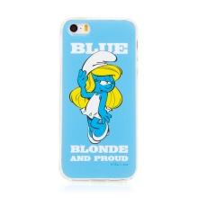Kryt ŠMOULOVÉ pro Apple iPhone 5 / 5S / SE - gumový - modrý / hrdá Šmoulinka