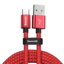 Synchronizační a nabíjecí kabel BASEUS USB-C - USB 3.0 - tkanička - 1m - červený