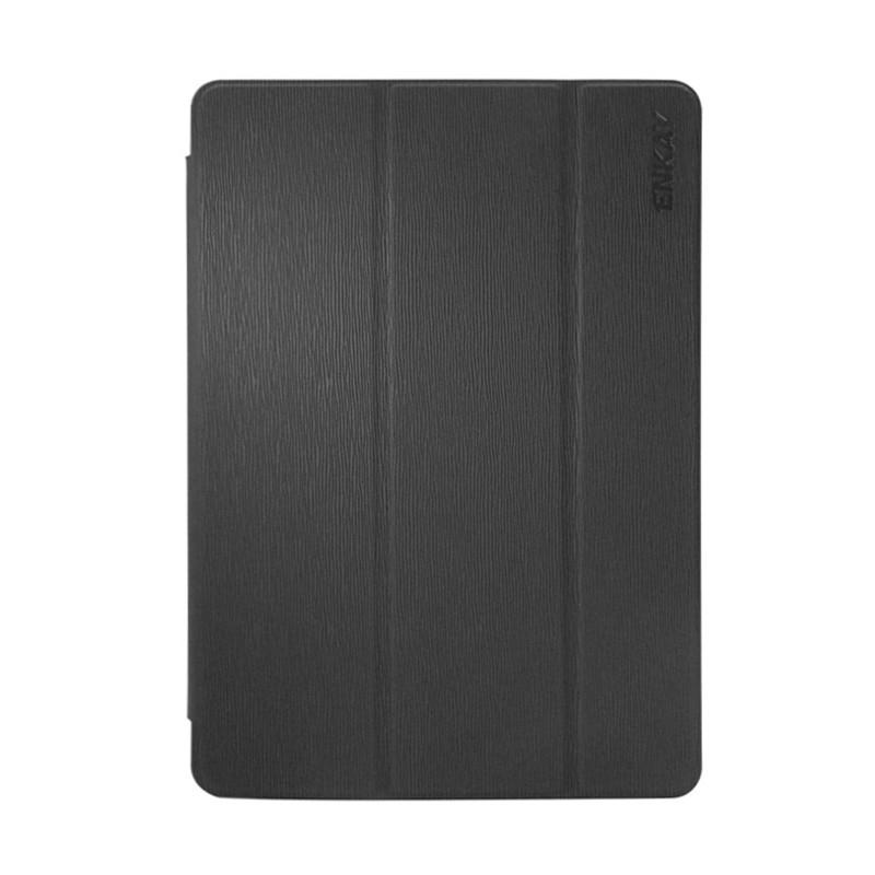 Pouzdro / kryt ENKAY pro Apple iPad 9,7 (2017-2018) - funkce chytrého uspání + stojánek - vroubkované - černé / průhledné