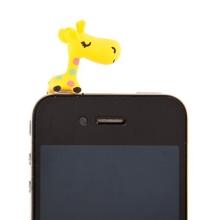 Antiprachová záslepka na jack konektor pro Apple iPhone a další zařízení - giraffe - žlutá