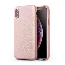 Kryt QIALINO pro Apple iPhone Xs Max - pravá kůže - růžový