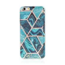 Kryt pro Apple iPhone 6 / 6S - mramorová textura - gumový - modrý / zelený