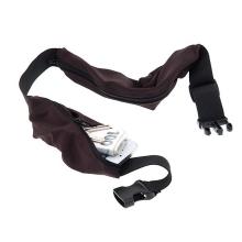 Sportovní nastavitelný pás / opasek s 2 kapsami - černo-hnědý