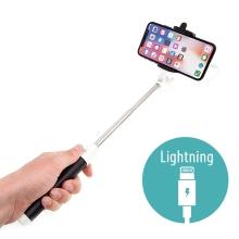 Selfie tyč / monopod - kabelová spoušť - konektor Lightning - růžová
