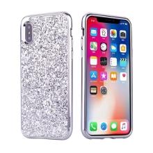 Kryt pro Apple iPhone X - plastový - lesklé třpytky - stříbrný
