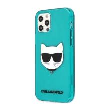 Kryt KARL LAGERFELD Choupette pro Apple iPhone 12 Pro Max - gumový - modrý - třpytky
