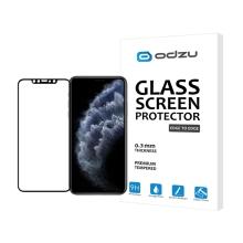 Tvrzené sklo (Tempered Glass) ODZU pro Apple iPhone 11 Pro Max - přední - černý rámeček - 2,5D - 0,3mm