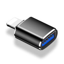 Přepojka / redukce USB-A samice na Lightning samec - pro flashdisk / myš - kovová - černá