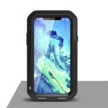 Pouzdro LOVE MEI pro Apple iPhone X - outdoor - kov / silikon - tvrzené sklo na přední části - černé