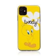 Kryt Tweety pro Apple iPhone 11 - gumový - žlutý s kytičkou