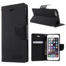 Vyklápěcí pouzdro Mercury Canvas Diary pro Apple iPhone 6 / 6S se stojánkem a prostorem na osobní doklady - černé