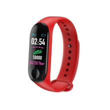 Sportovní fitness náramek M3 - tlakoměr / krokoměr / měřič tepu - Bluetooth - vodotěsný - červený