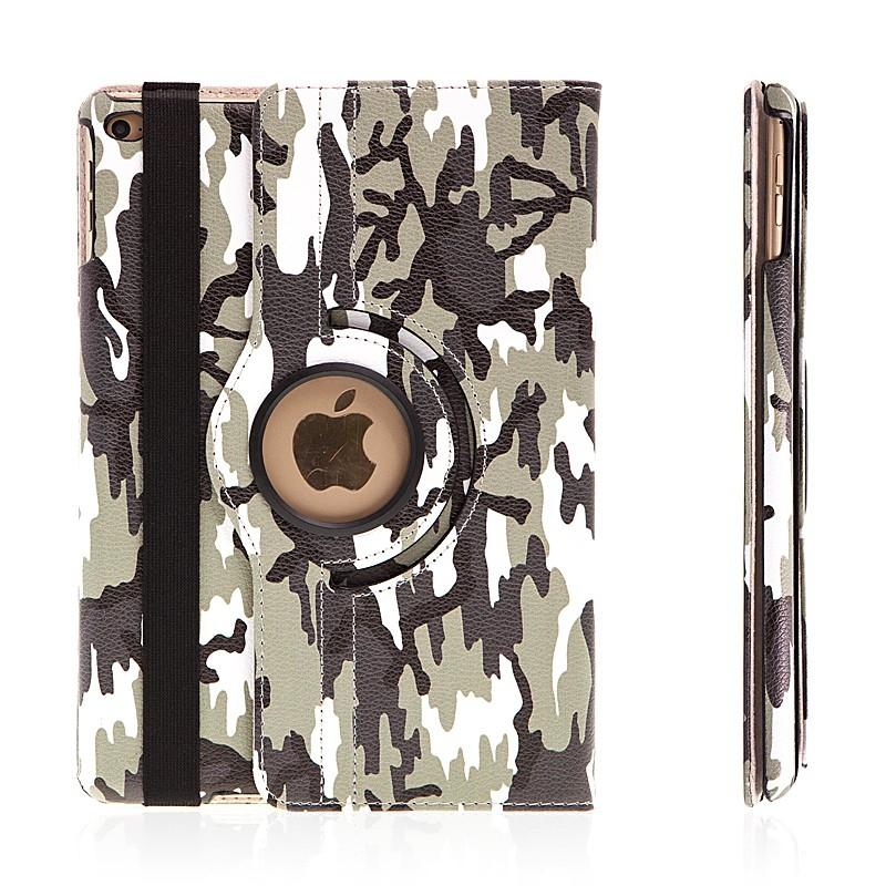 Pouzdro / kryt pro Apple iPad Air 2 - výřez pro logo / funkce uspání probuzení - maskáčové / šedé