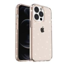 Kryt pro Apple iPhone 13 Pro Max - gumový - průsvitně Rose Gold růžový - se třpytkami