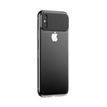 Kryt BASEUS pro Apple iPhone Xr - plastový / umělá kůže - karbonová textura - černý