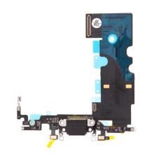 Napájecí a datový konektor s flex kabelem + GSM anténa + mikrofony pro Apple iPhone 8 - černý - kvalita A+