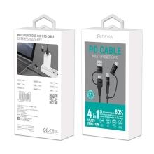Synchronizační a nabíjecí kabel 4v1 Lightning (20W) / USB-C (60W) DEVIA - tkanička - 1,5m - černý
