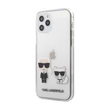 Kryt KARL LAGERFELD Karl a Choupette pro Apple iPhone 12 / 12 Pro - plastový / gumový - průhledný