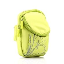 Brašna / pouzdro - pásek na ruku - dvě kapsy - karabina - pro Apple iPhone - látková - zelená