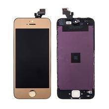 LCD panel + dotykové sklo (touch screen digitizér) + Home Button pro Apple iPhone 5 - pogalvanizovaný povrch - zlatý