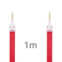 Noodle style propojovací audio jack kabel 3,5mm pro Apple iPhone / iPad / iPod a další zařízení - červený s bílými koncovkami