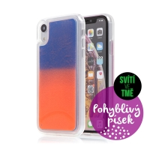 Kryt TACTICAL Glow pro Apple iPhone Xr - pohyblivý svíticí písek - plastový - oranžový / modrý