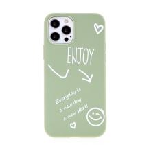 Kryt pro Apple iPhone 12 / 12 Pro - Enjoy every day - gumový - zelený
