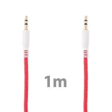 Propojovací audio jack kabel 3,5mm pro Apple iPhone / iPad / iPod a další zařízení - tkanička - červený - 1m