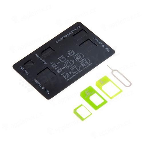 Cestovní karta - redukce z Nano SIM karty na Micro SIM a na standardní SIM + redukce Micro SIM na standartní SIM kartu