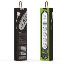 Prodlužovací přívod / prodlužovačka 4x EU zásuvka + nabíječka 4x USB-A - bílý - 2m kabel