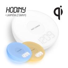 Bezdrátová nabíječka / nabíjecí podložka Qi + hodiny + lampička - bílá