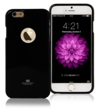 Kryt Mercury pro Apple iPhone 6 Plus / 6S Plus gumový s výřezem pro logo - jemně třpytivý - černý