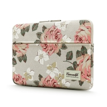 """Pouzdro se zipem CANVASLIFE pro Apple MacBook Air 13"""" / Pro 13"""" - postranní kapsa - květiny - béžové"""