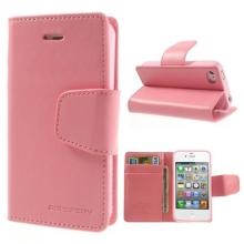 Vyklápěcí pouzdro Mercury Sonata Diary pro Apple iPhone 4 / 4S se stojánkem a prostorem na osobní doklady - růžové