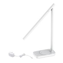 Stolní lampička + bezdrátová nabíječka / nabíjecí podložka Qi BASEUS + USB-A - bílá