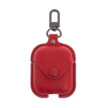 Pouzdro DEVIA Cowboy pro Apple Airpods - kovové poutko - umělá kůže - červené