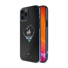 Kryt KINGXBAR pro Apple iPhone 12 / 12 Pro - s kamínky - plastový - modré srdce