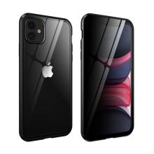 Kryt pro Apple iPhone 11 - 360° ochrana - magnetické uchycení - skleněný / kovový - privacy černý